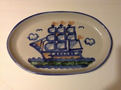 """M. A. Hadley Ship and Whale 19"""" Platter"""