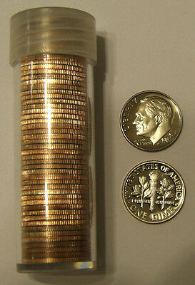 1987 S 10c Proof Roosevelt Dime Roll 50 Coins