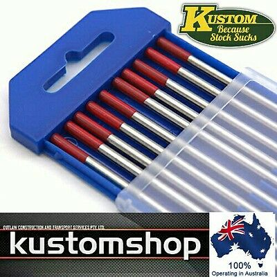☆Tig Tungsten Electrodes 10 Pk 1.6Mm X 150Mm Lg 2% Thoriated (Red Tip)☆