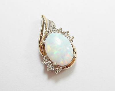 Genuine Sterling Silver & 10k Yellow Gold .75 Carat Oval Opal Pendant #2770