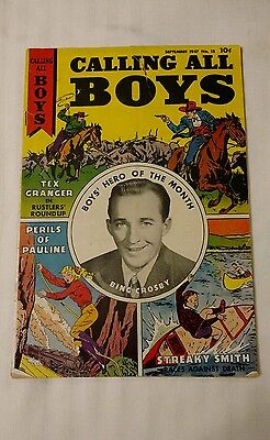 CALLING ALL BOYS # 13 September 1947 BING CROSBY PHOTO COVER good condition