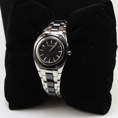 d4ff6c53bb8e NEW AUTHENTIC ESCADA Naomi Silver Black Women's E2505031 Watch ...