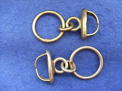 Pair Victorian British Army Officers Pouch Belt Fixings With Chain Loops To Belt