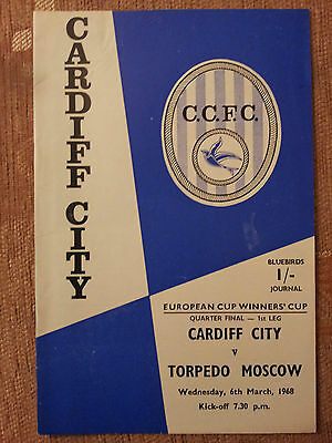 1967/68 European Cup Winners Cup Quarter Final - CARDIF CITY v. TORPEDO MOSCOW