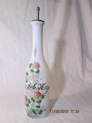 Witch Hazel Barber Bottle hand painted flowers vintage antique container stopper