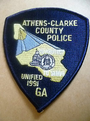 Patches: ATHENS CLARKE COUNTY Georgia(UNIFIED 1991)POLICE PATCH (NEW*apx11x9.5cm