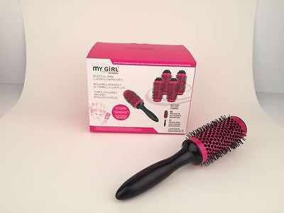 2017 click hair rollers curl brush with box medium size 7in1 4 colours to choose
