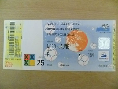 1998 World Cup Tickets- SOUTH KOREA v NETHERLANDS, 20 June, Match- 25 (Org,Exc*)