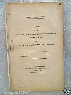1833/34 Head of Civil Contingencies an Annual Accounts & Budget (183 years Old)