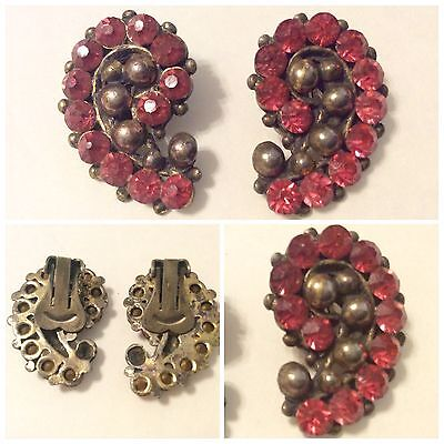 Antique Art Deco Pink Crystal Rhinestone Clip On Earrings Beautiful Glamour
