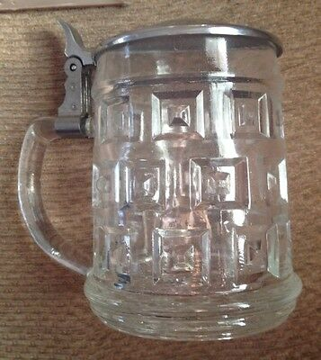 LEONARD GLASS BEER MUG TANKARD STEIN W/LID - MADE IN ITALY New Old Stock In Box