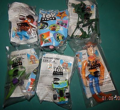 Lot of 6 new in package 1995 Toy story items sealed in original Burger King pack