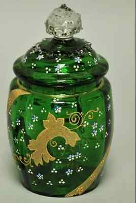 "Dark Green Glass Biscuit Jar 8"" High Pre-Owned"