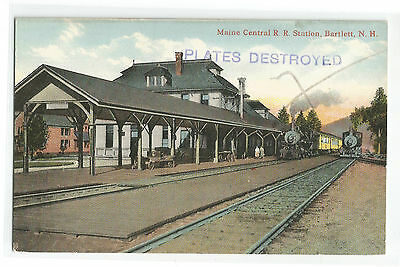 Plates Destroyed ? Maine Central R R Station Bartlett New Hampshire Depot Train