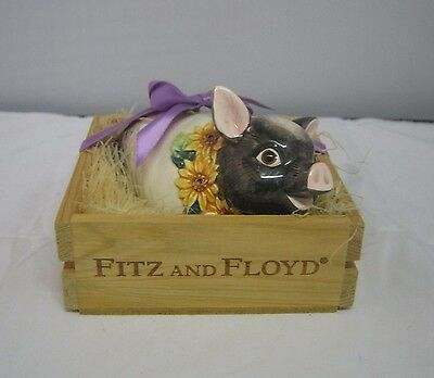 VTG 1992 Fitz And Floyd Pomander Ceramic Pig Country Sunflowers In Crate EUC
