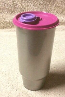 Tupperware THIRSTQUAKE 32 oz On the Go Tumbler Cup GRAY SILVER w/ Lid 4628A-1