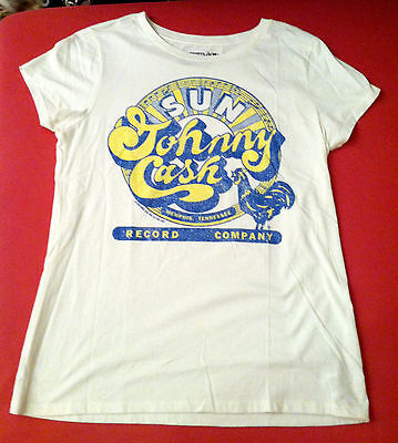 JOHNNY CASH SUN RECORDS Women's Retro Graphic Shirt, Cap Slv, Sz L, EUC