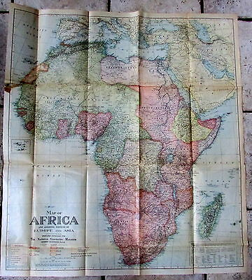 1922 Original Political Colonial  Map Of Africa With  German British French
