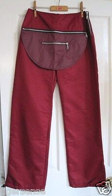 Rare! BOUTIQUE Vtg 90s Dark Red Hip Hop Cyber Nu Rave Tracksuit Bottom Trousers