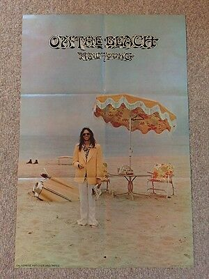 "Original 1974 Neil Young Reprise Records Promo Poster On The Beach 24""X36"" EX"