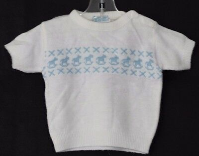 Vintage GOLDEN GATE OF CALIFORNIA Sweater White, Blue Rocking Horse Size Small