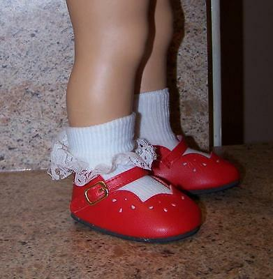 Red scalloped Chatty Cathy size shoes, briefly displayed, working buckle