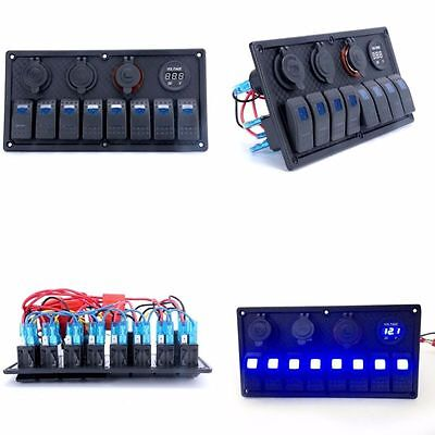8 Gang Switch Panel+Red Digital Voltmeter+Double USB Power Adapter Waterproof-AM
