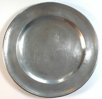 "Antique American Pewter Joseph Danforth 8"" plate 1780-1788 Middletown Connecticu"
