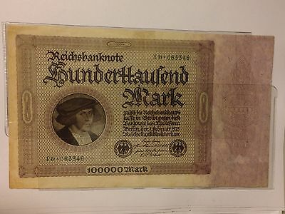 1923 Germany,*Rare* German Reichsbanknote ,RBD100000 Mark, Excellent Condition!
