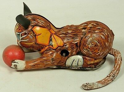 Marx Roll Over Cat With Wood Ball Tin Wind Up Toy As Is