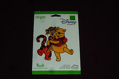 """NEW Wright's Disney Home Iron On Applique  Approx 3"""" Pooh & Tigger SEALED"""