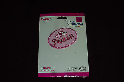 """NEW Wright's Disney Home Pink Princess Iron On Applique Approx 2""""  SEALED"""