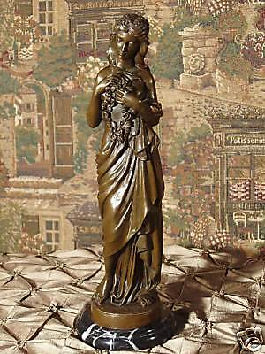 Real Bronze Metal Statue on Stone Classical Woman with Flowers Mother Sculpture