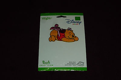 """NEW Wright's Disney Home Iron On Applique Approx 2""""  Pooh & Piglet  SEALED"""