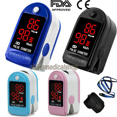 US Seller 4 colors Finger Tip Pulse Oximeter Blood Oxygen Saturation SPO2 PR FDA