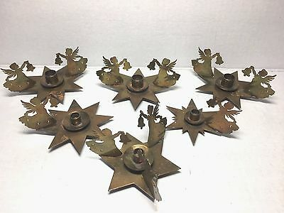6 Vintage Mini Brass Star & Angels Christmas Candle Holders West Germany