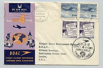 CHILE B.O.A.C. FIRST FLIGHT CHILE   LONDON S.W.I. 1960 w/COMET 4 JETLINER CANCEL