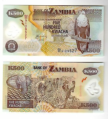 Bank Note World From Zambia In Africa,1 Note Of 500 Kwacha, Polymer, 2011, Unc