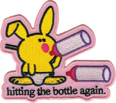 Happy Bunny hitting the bottle again. Die Cut Embroidered Patch, NEW UNUSED