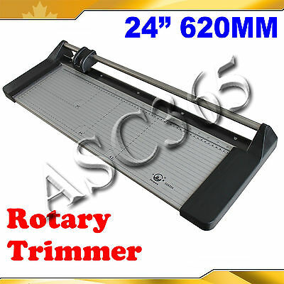 "24"" Rotary Paper Cutter Portable Trimmer with one Plastic Ruler&Extra Blade"