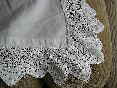 Lovely Vintage Cotton Sheet or Coverlet  Bright White Crochet Top Edge 84x78