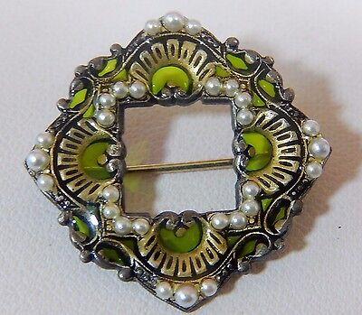 Vtg Plique A Jour Style Seed Pearl Exquisitely Detailed Silver Brooch Pin Evc,