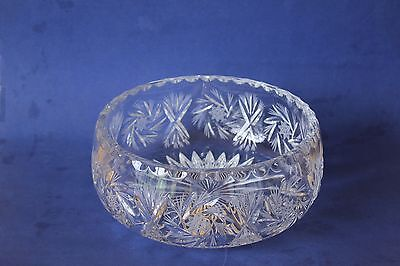 Large Crystal salad, fruit bowl.  Pinwheel etched star design.