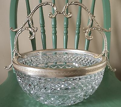 Victorian Antique Cut Glass Bowl with Ornate Silver Plated Handle & Rim