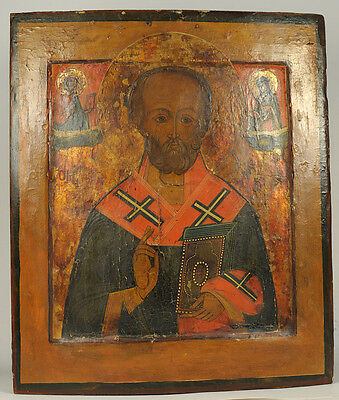 c.1880 ANTIQUE RUSSIAN ORTHODOX ART ICON SAINT ST NICHOLAS WONDERWORKER OF MYRA