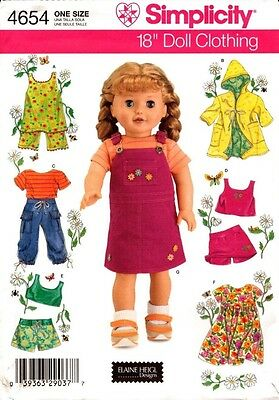 """Simplicity Sewing Pattern 4654 Doll Clothes One Size for 18"""" (45.5cm) Doll New"""