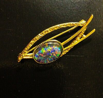 Opal Brooch 925 Sterling Silver, Gold Plated