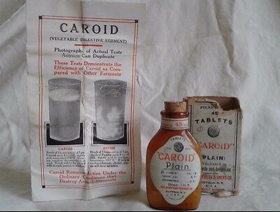Vintage Apothecary Medicine Glass Bottle for CAROID by American Ferment NIB