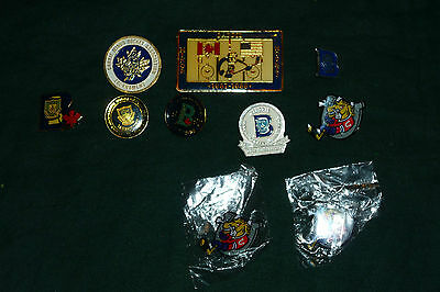Lot of 7 Barrie Minor Hockey Assoc. Vintage Enamel Pins & 3 Barrie Colts OHL