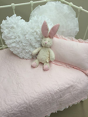 Girls Pink Shabby Chic Marcella Embroidered Cot Quilt & Cushion Baby Crib